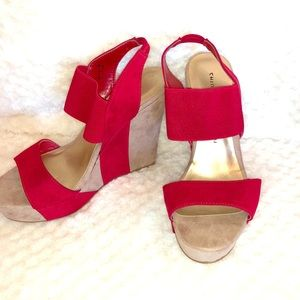 Chinese Laundry red wedge sandal heels